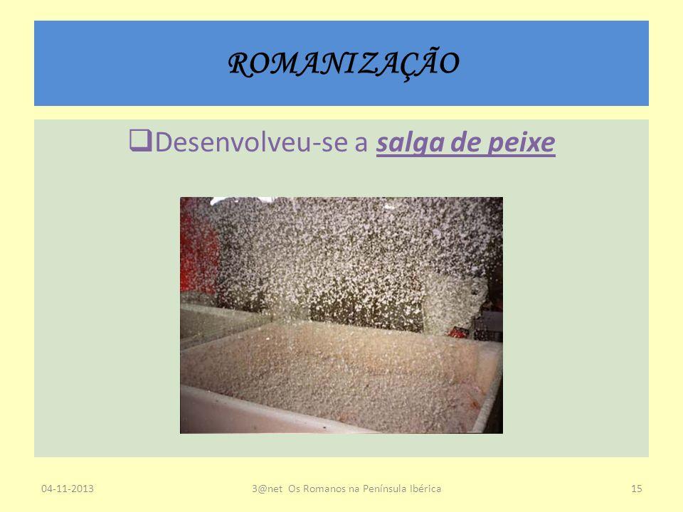 ROMANIZAÇÃO Desenvolveu-se a salga de peixe 04-11-20133@net Os Romanos na Península Ibérica15