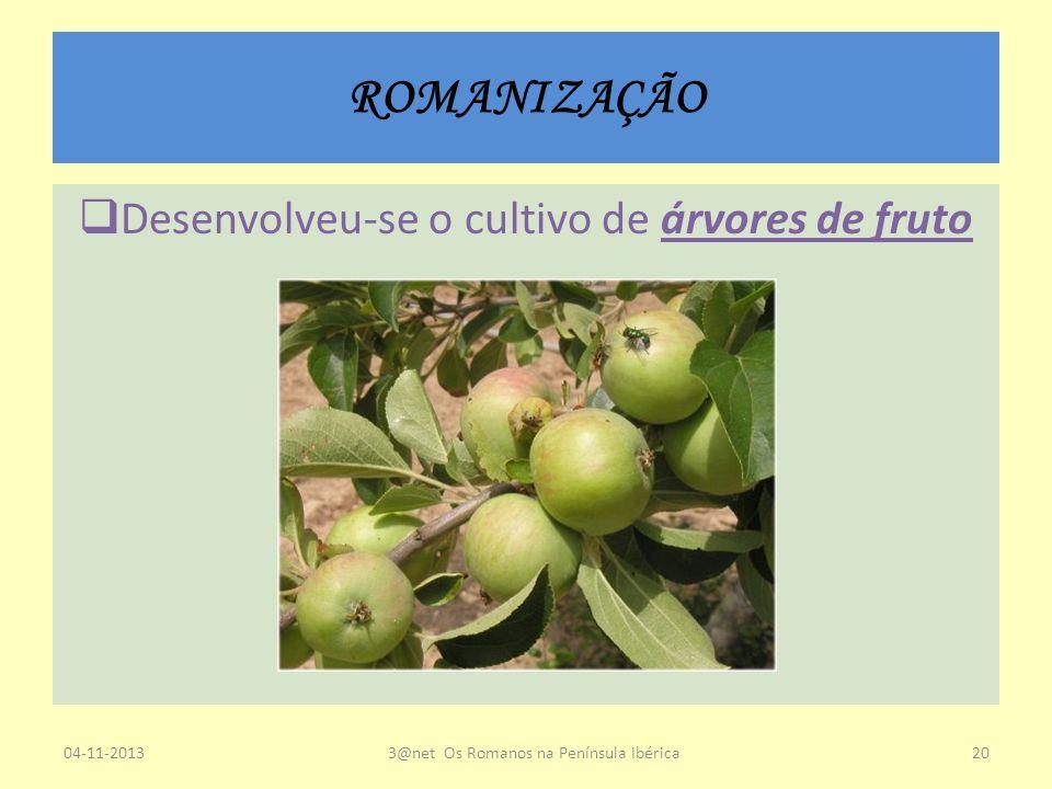 ROMANIZAÇÃO Desenvolveu-se o cultivo de árvores de fruto 04-11-20133@net Os Romanos na Península Ibérica20