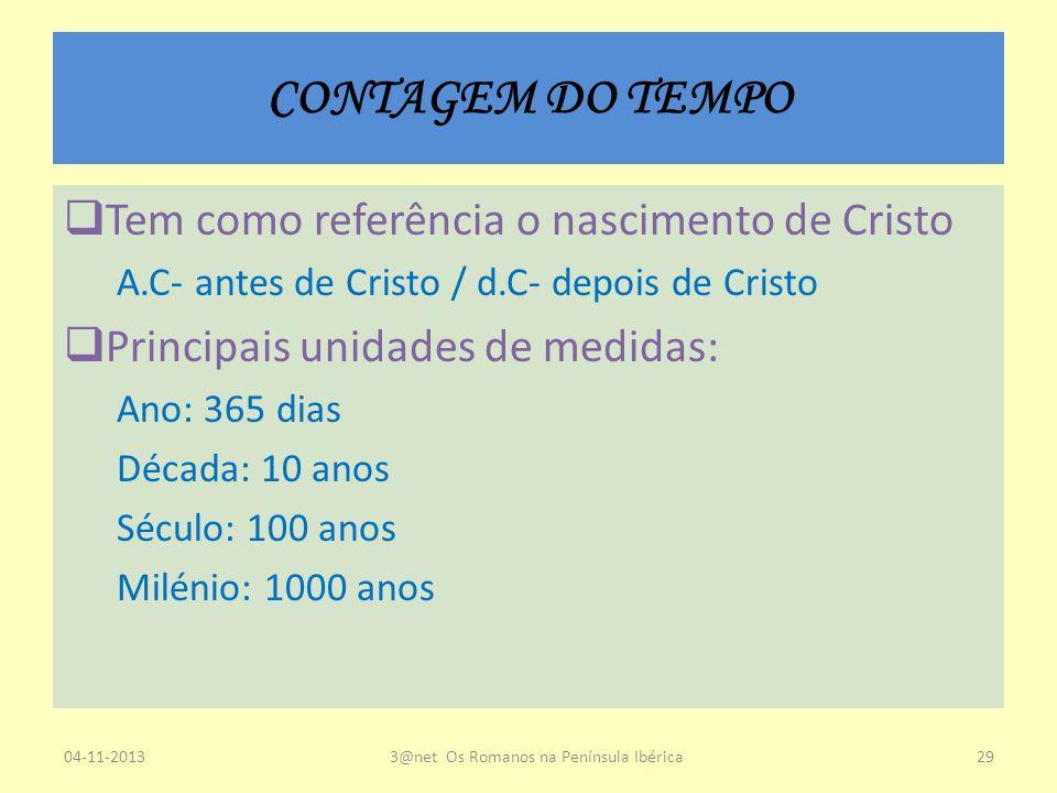 CONTAGEM DO TEMPO Tem como referência o nascimento de Cristo A.C- antes de Cristo / d.C- depois de Cristo Principais unidades de medidas: Ano: 365 dia