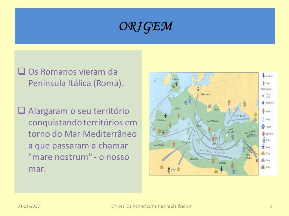 ORIGEM Os Romanos vieram da Península Itálica (Roma). Alargaram o seu território conquistando territórios em torno do Mar Mediterrâneo a que passaram