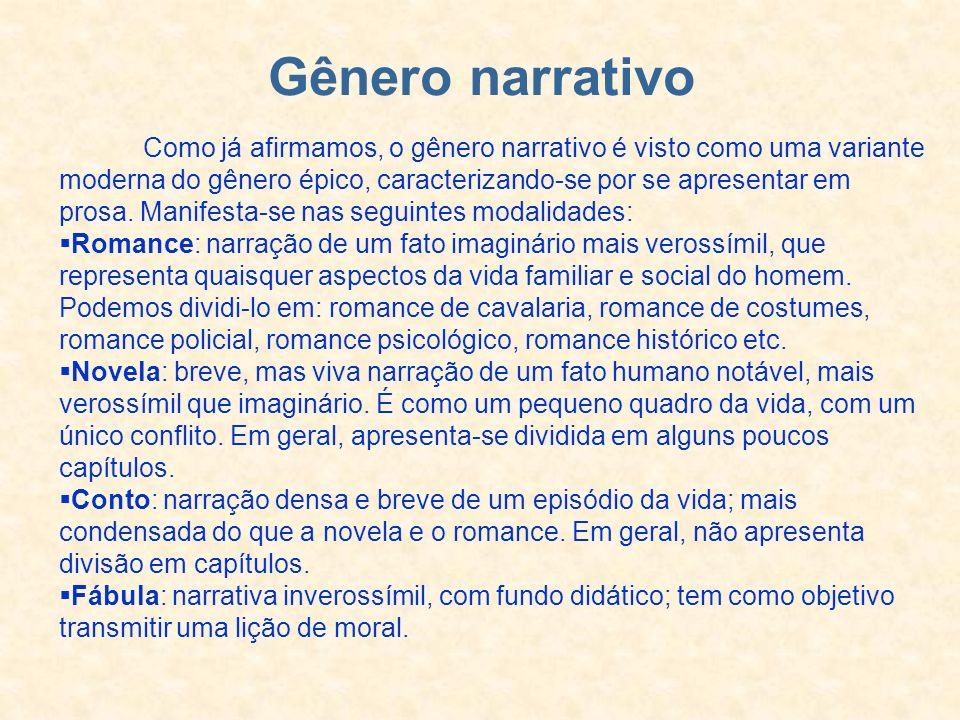 Gênero narrativo Como já afirmamos, o gênero narrativo é visto como uma variante moderna do gênero épico, caracterizando-se por se apresentar em prosa