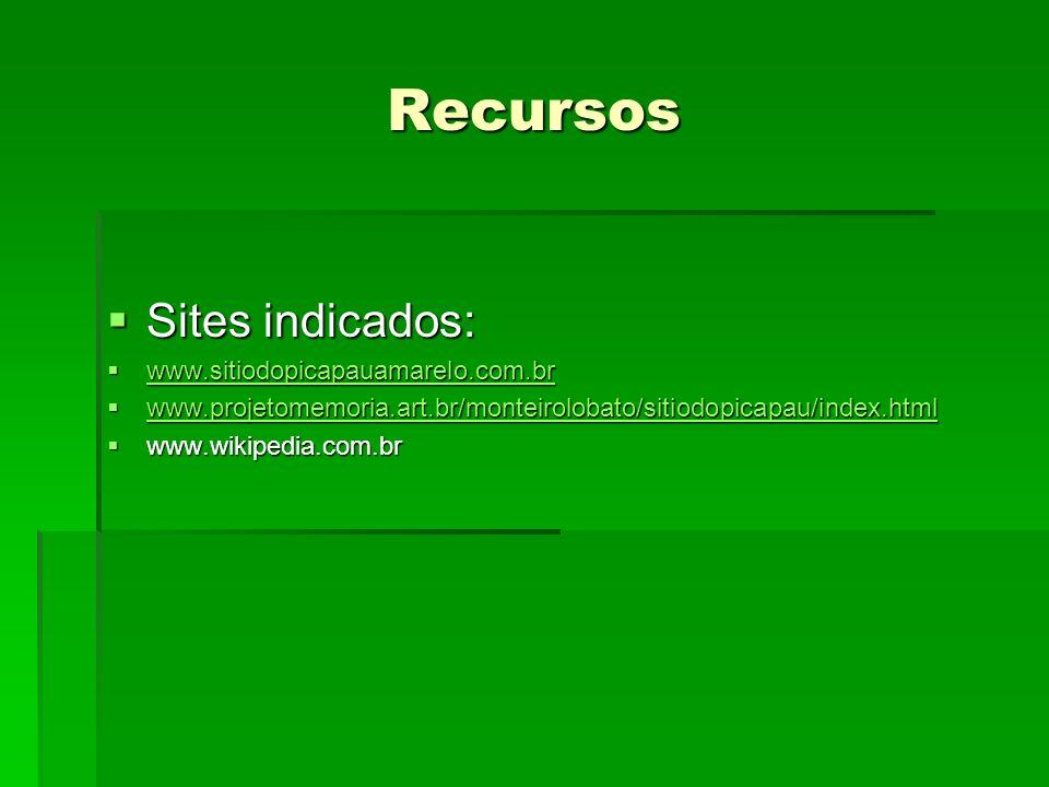 Recursos Sites indicados: Sites indicados: www.sitiodopicapauamarelo.com.br www.sitiodopicapauamarelo.com.br www.sitiodopicapauamarelo.com.br www.proj