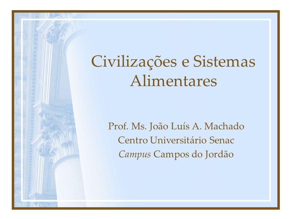 Civilizações e Sistemas Alimentares Prof. Ms. João Luís A. Machado Centro Universitário Senac Campus Campos do Jordão