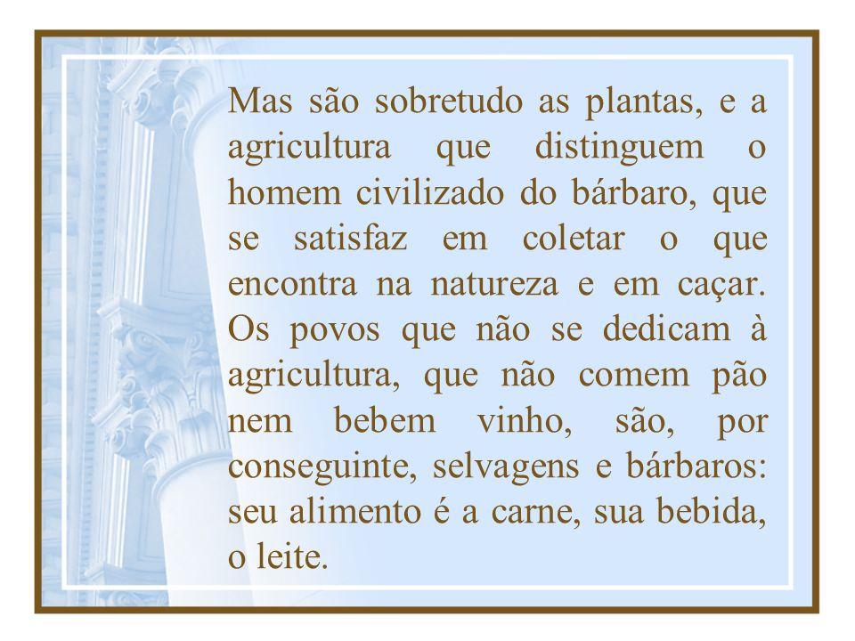 Mas são sobretudo as plantas, e a agricultura que distinguem o homem civilizado do bárbaro, que se satisfaz em coletar o que encontra na natureza e em