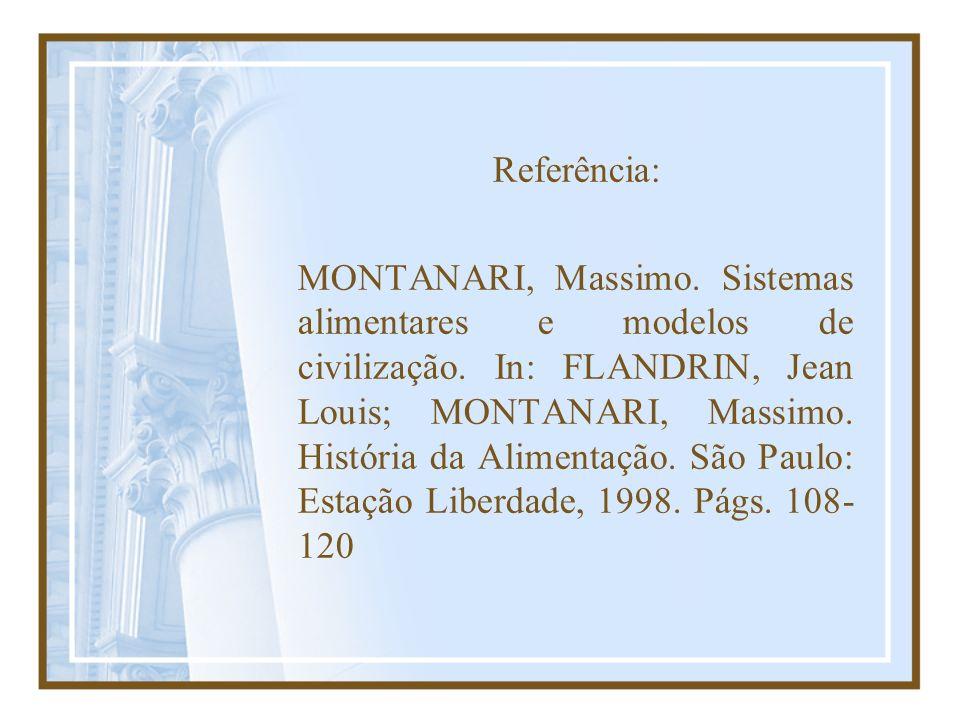 Referência: MONTANARI, Massimo. Sistemas alimentares e modelos de civilização. In: FLANDRIN, Jean Louis; MONTANARI, Massimo. História da Alimentação.