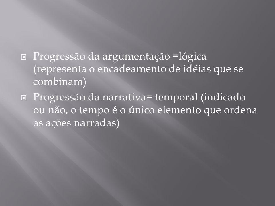 Progressão da argumentação =lógica (representa o encadeamento de idéias que se combinam) Progressão da narrativa= temporal (indicado ou não, o tempo é