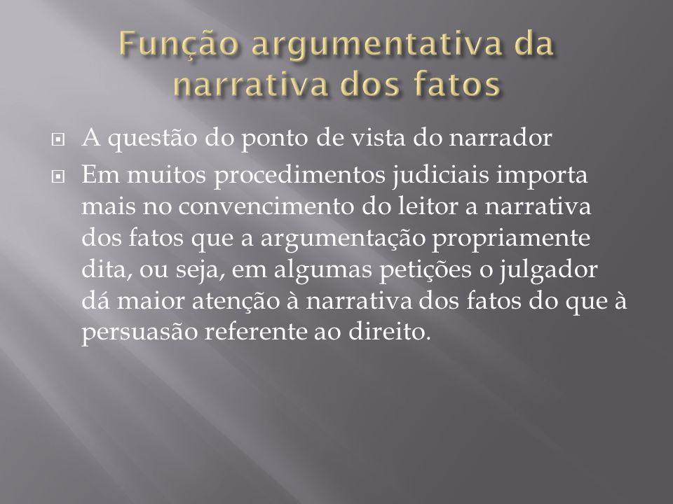 A questão do ponto de vista do narrador Em muitos procedimentos judiciais importa mais no convencimento do leitor a narrativa dos fatos que a argument