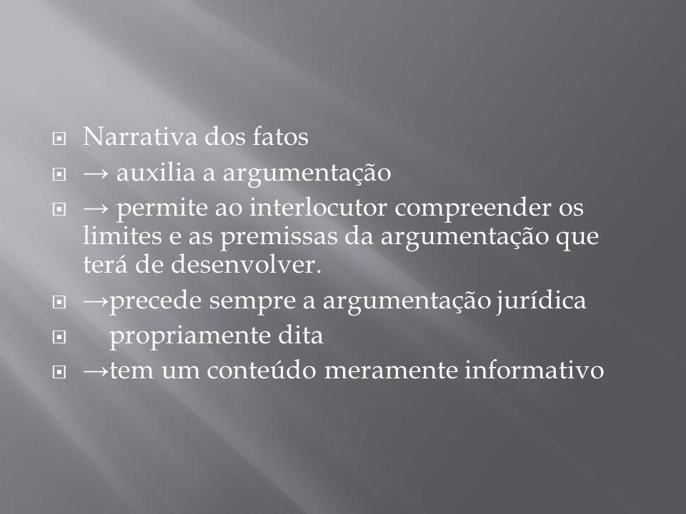 Narrativa dos fatos auxilia a argumentação permite ao interlocutor compreender os limites e as premissas da argumentação que terá de desenvolver. prec