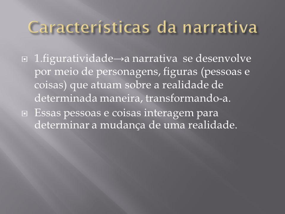 1.figuratividadea narrativa se desenvolve por meio de personagens, figuras (pessoas e coisas) que atuam sobre a realidade de determinada maneira, tran