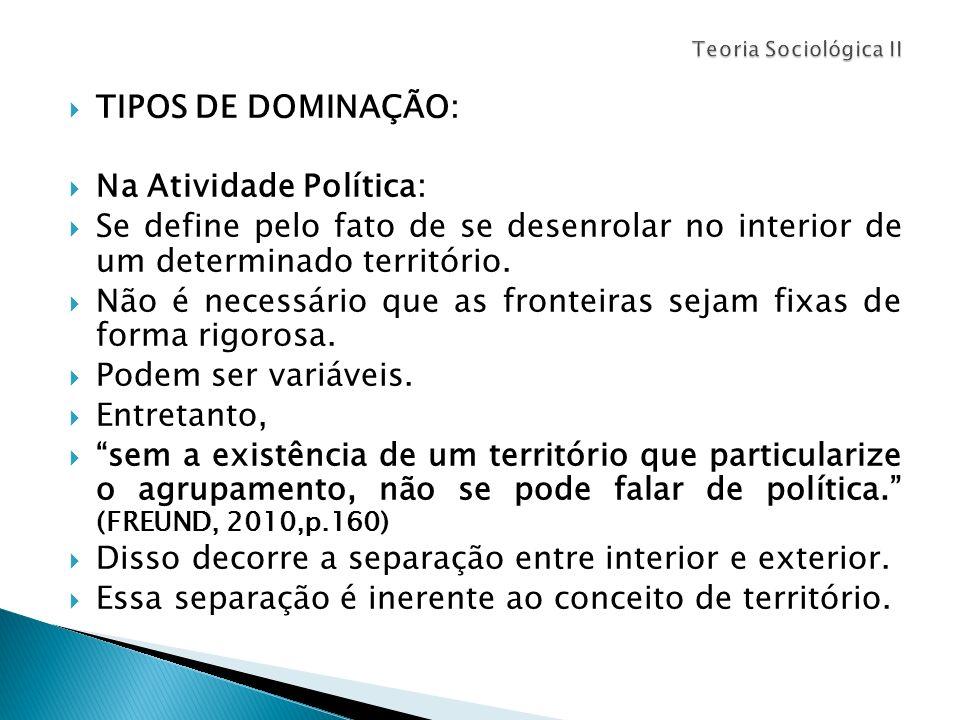 TIPOS DE DOMINAÇÃO: Na Atividade Política: Se define pelo fato de se desenrolar no interior de um determinado território. Não é necessário que as fron
