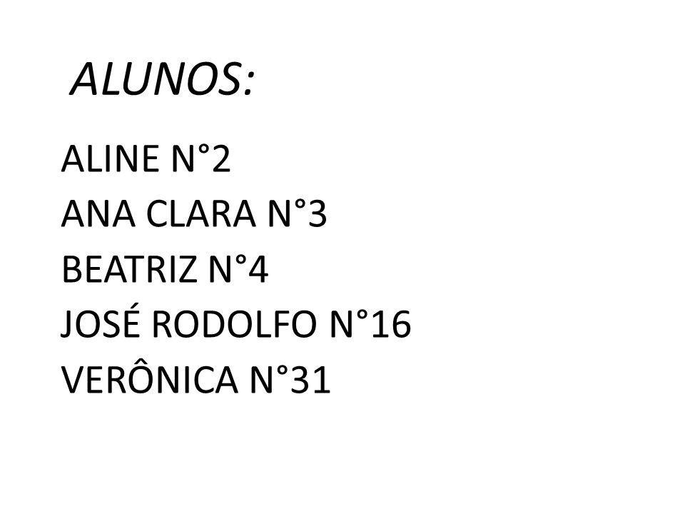 ALUNOS: ALINE N°2 ANA CLARA N°3 BEATRIZ N°4 JOSÉ RODOLFO N°16 VERÔNICA N°31
