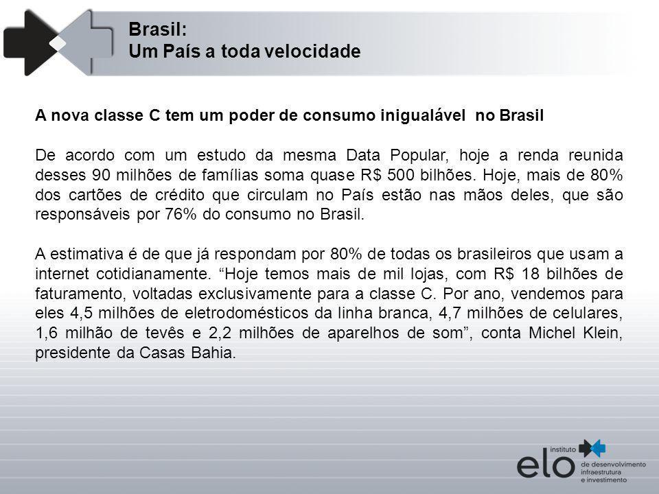Brasil: Um País a toda velocidade A nova classe C tem um poder de consumo inigualável no Brasil De acordo com um estudo da mesma Data Popular, hoje a