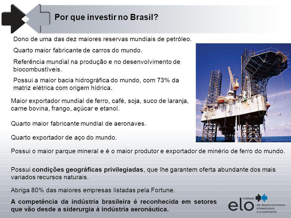 Dono de uma das dez maiores reservas mundiais de petróleo. Por que investir no Brasil? Possui a maior bacia hidrográfica do mundo, com 73% da matriz e