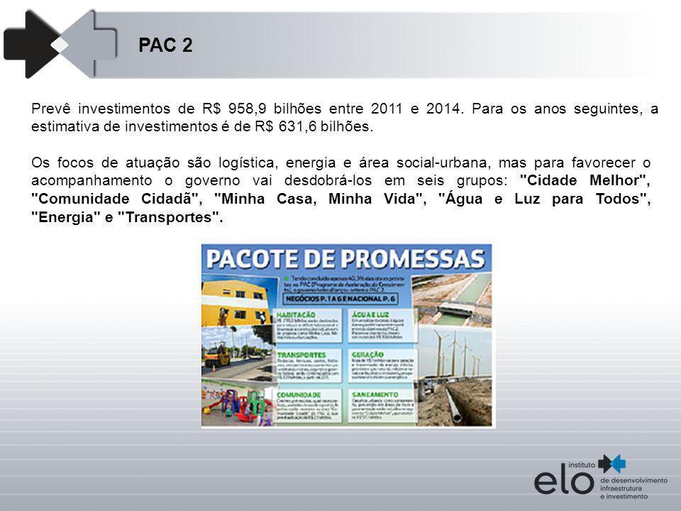 PAC 2 Prevê investimentos de R$ 958,9 bilhões entre 2011 e 2014. Para os anos seguintes, a estimativa de investimentos é de R$ 631,6 bilhões. Os focos