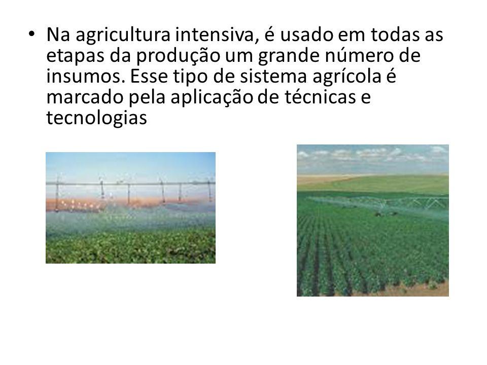 Faz parte da agricultura intensiva: a mecanização (tratores, colheitadeiras, plantadeiras, implementos, etc.) aliada ao uso de insumos, que são aplicados na preparação do solo, além de sementes selecionadas que são imunes de pragas e adequadas ao tipo de clima, herbicidas, inseticidas, entre outros