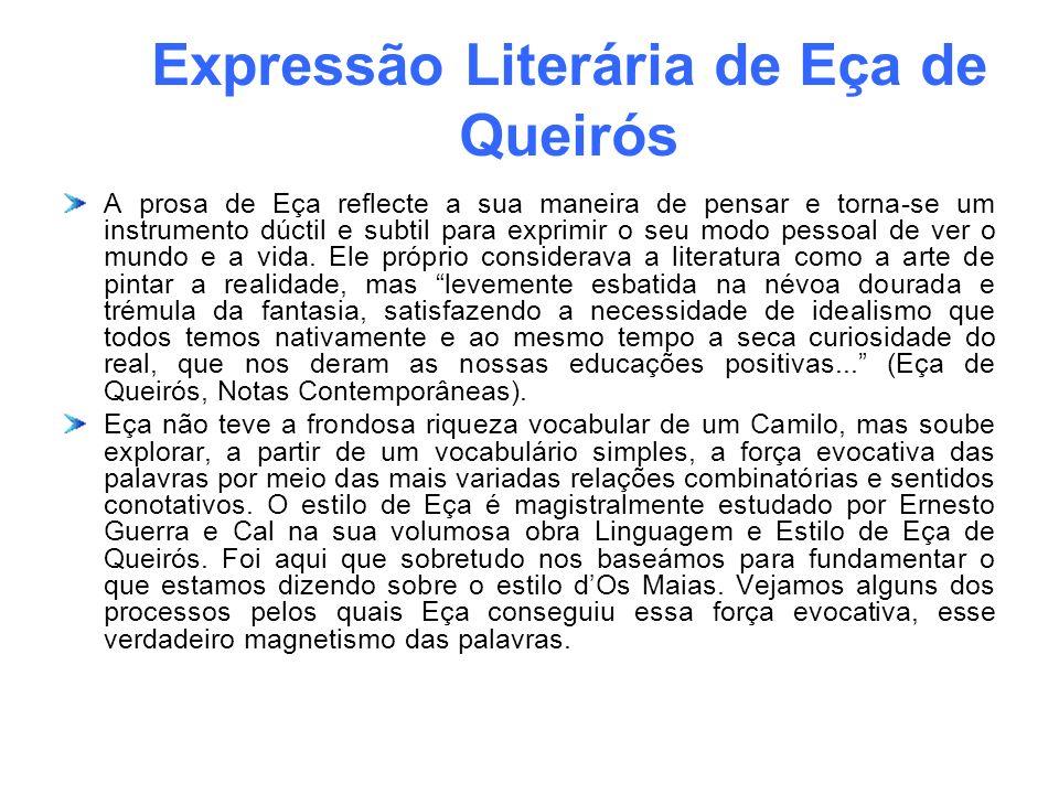 Expressão Literária de Eça de Queirós A prosa de Eça reflecte a sua maneira de pensar e torna-se um instrumento dúctil e subtil para exprimir o seu mo