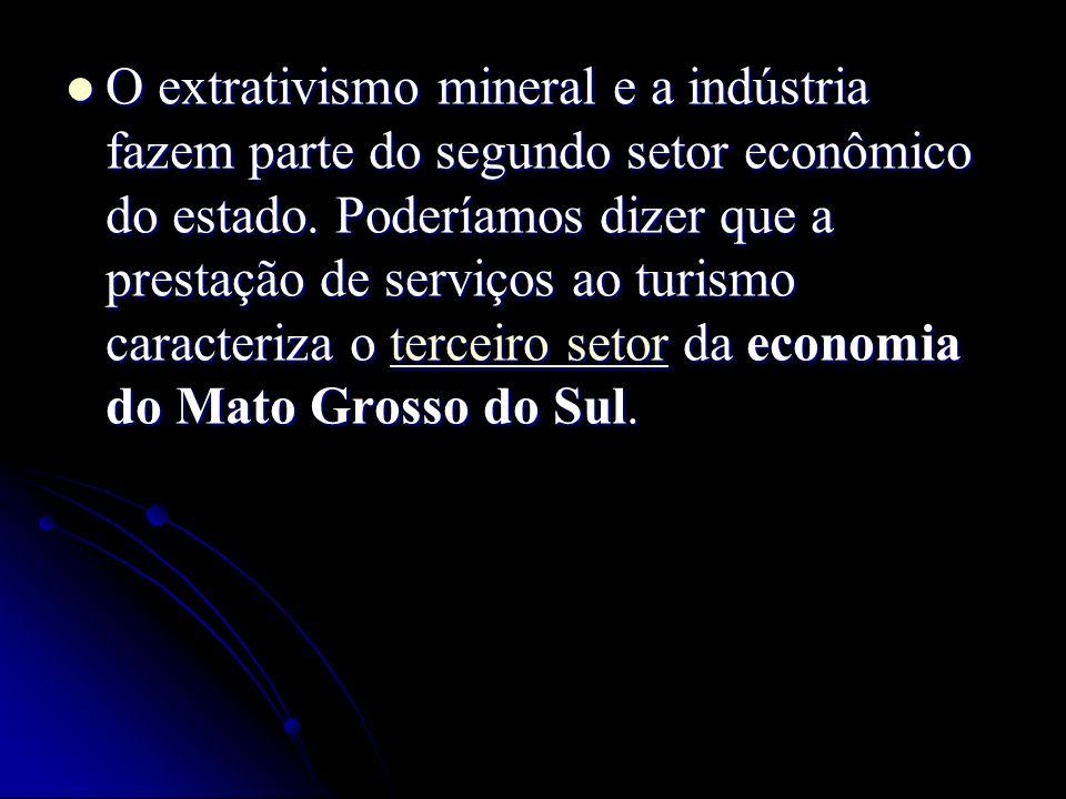 O extrativismo mineral e a indústria fazem parte do segundo setor econômico do estado.