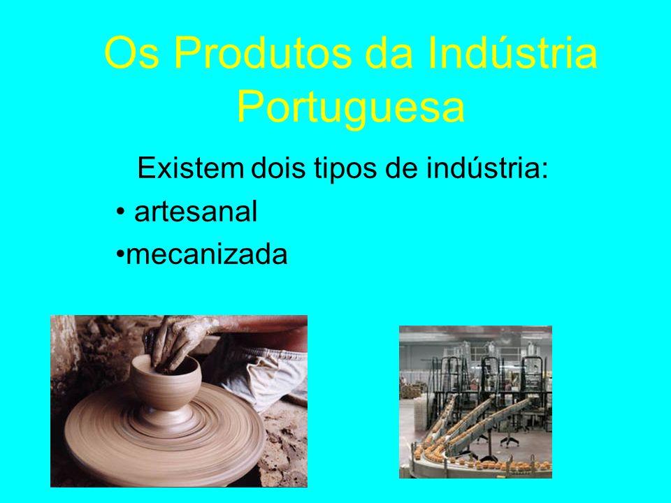 Os Produtos da Indústria Portuguesa Existem dois tipos de indústria: artesanal mecanizada