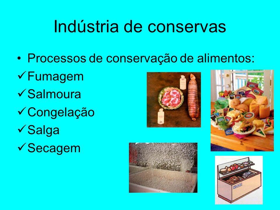 Indústria de conservas Processos de conservação de alimentos: Fumagem Salmoura Congelação Salga Secagem