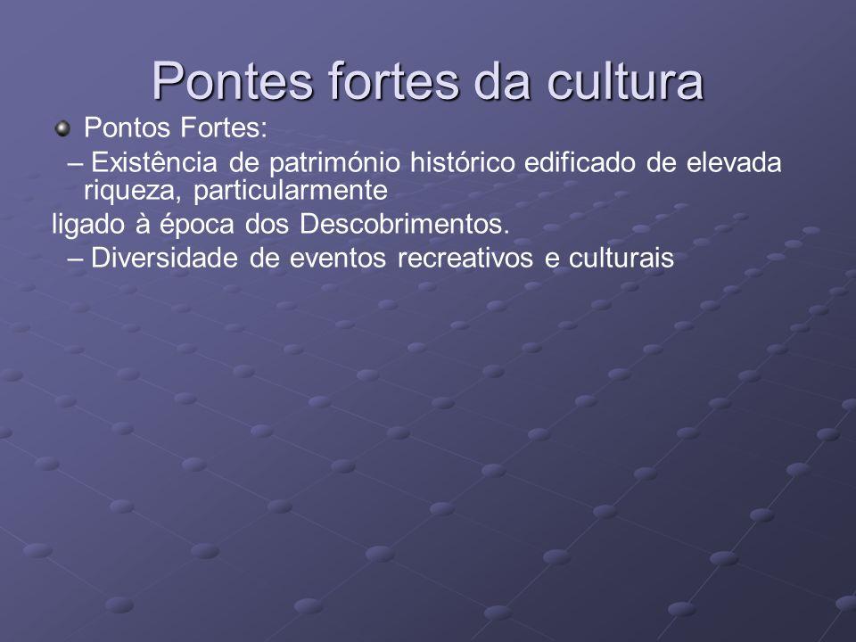 Pontes fortes da cultura Pontos Fortes: – Existência de património histórico edificado de elevada riqueza, particularmente ligado à época dos Descobri