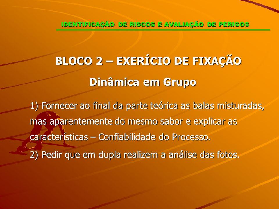 BLOCO 2 – EXERÍCIO DE FIXAÇÃO Dinâmica em Grupo 1) Fornecer ao final da parte teórica as balas misturadas, mas aparentemente do mesmo sabor e explicar