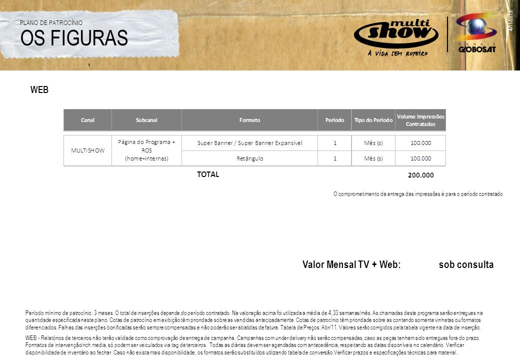 4/11/2013 OS FIGURAS PLANO DE PATROCÍNIO WEB O comprometimento da entrega das impressões é para o período contratado Valor Mensal TV + Web: sob consul
