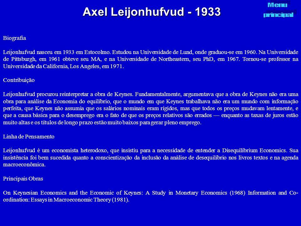 Axel Leijonhufvud - 1933 Biografia Leijonhufvud nasceu em 1933 em Estocolmo. Estudou na Universidade de Lund, onde graduou-se em 1960. Na Universidade