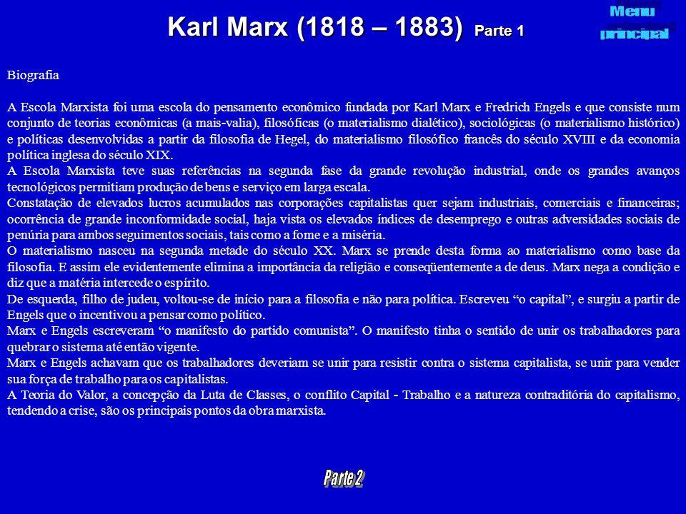 Karl Marx (1818 – 1883) Parte 1 Biografia A Escola Marxista foi uma escola do pensamento econômico fundada por Karl Marx e Fredrich Engels e que consi