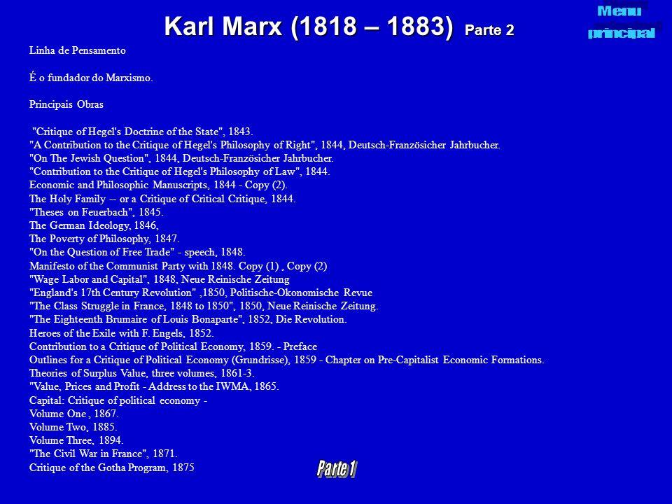 Karl Marx (1818 – 1883) Parte 2 Linha de Pensamento É o fundador do Marxismo. Principais Obras