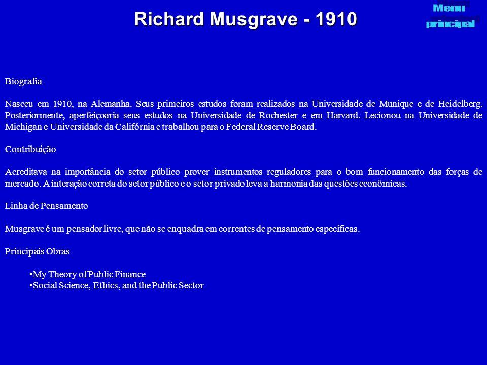Richard Musgrave - 1910 Biografia Nasceu em 1910, na Alemanha. Seus primeiros estudos foram realizados na Universidade de Munique e de Heidelberg. Pos