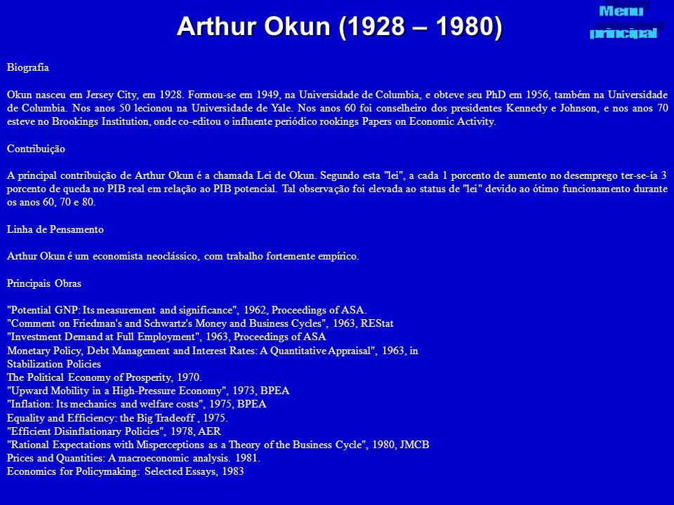 Arthur Okun (1928 – 1980) Biografia Okun nasceu em Jersey City, em 1928. Formou-se em 1949, na Universidade de Columbia, e obteve seu PhD em 1956, tam