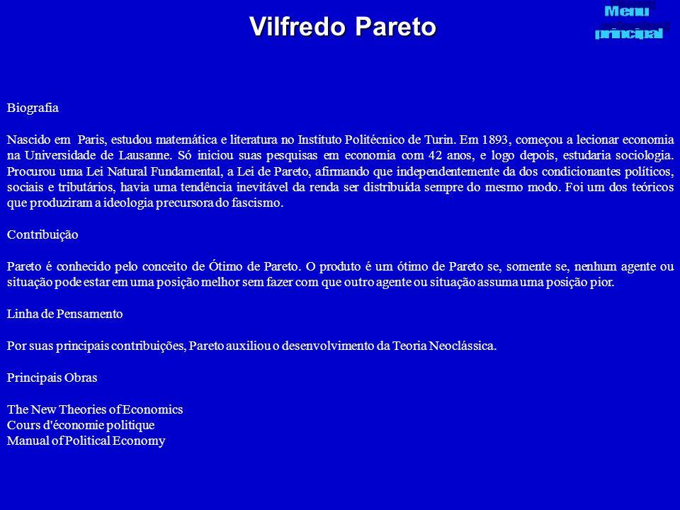 Vilfredo Pareto Biografia Nascido em Paris, estudou matemática e literatura no Instituto Politécnico de Turin. Em 1893, começou a lecionar economia na