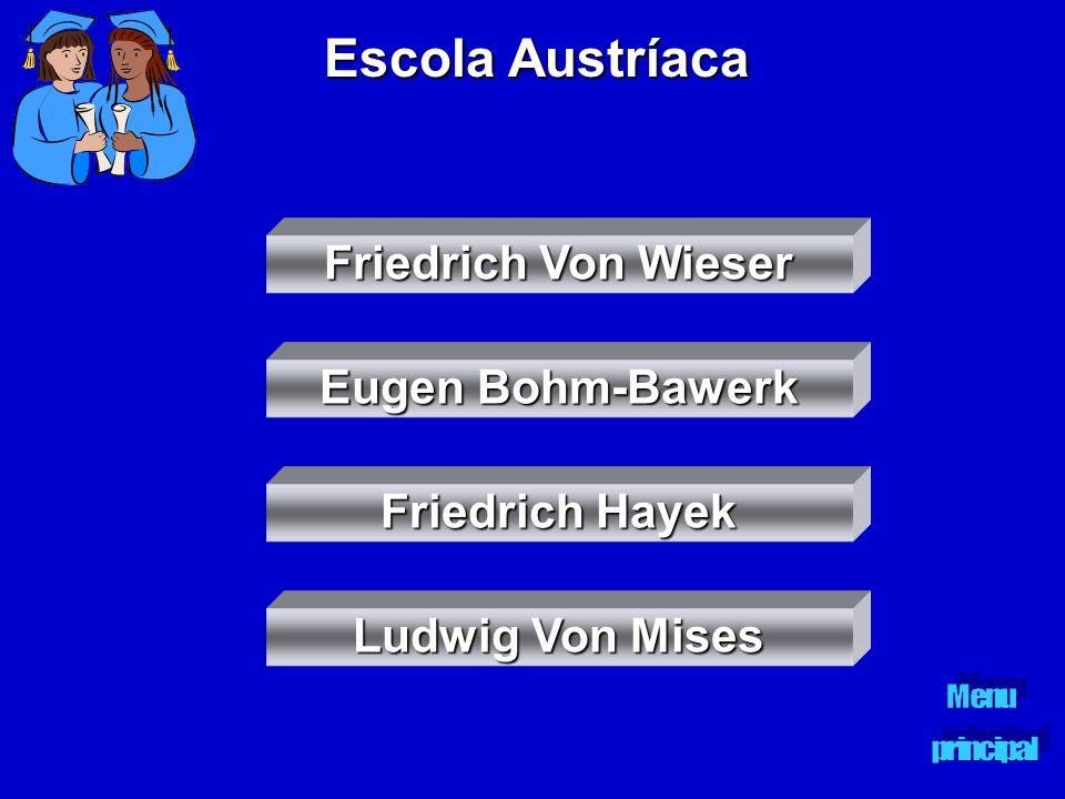 Escola Austríaca Friedrich Von Wieser Friedrich Von Wieser Eugen Bohm-Bawerk Eugen Bohm-Bawerk Friedrich Hayek Friedrich Hayek Ludwig Von Mises Ludwig
