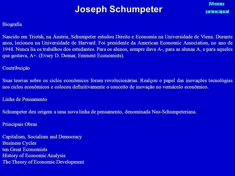 Joseph Schumpeter Biografia Nascido em Trietsh, na Áustria, Schumpeter estudou Direito e Economia na Universidade de Viena. Durante anos, lecionou na