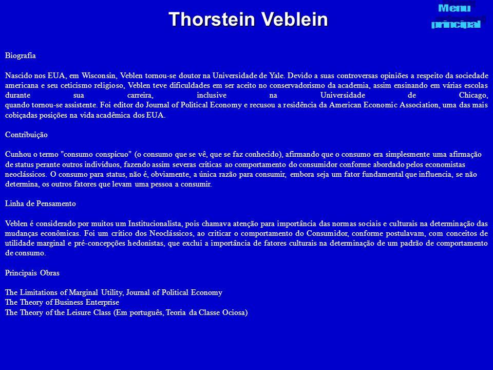 Thorstein Veblein Biografia Nascido nos EUA, em Wisconsin, Veblen tornou-se doutor na Universidade de Yale. Devido a suas controversas opiniões a resp