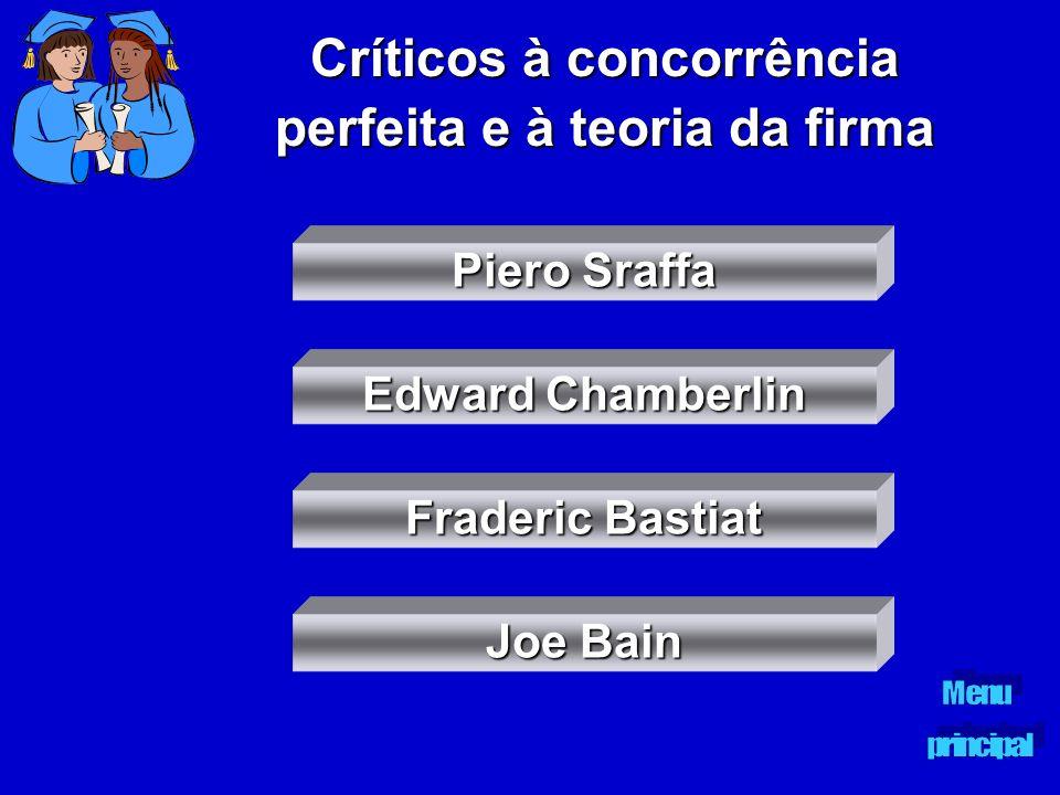 Críticos à concorrência perfeita e à teoria da firma Piero Sraffa Piero Sraffa Edward Chamberlin Edward Chamberlin Fraderic Bastiat Fraderic Bastiat J