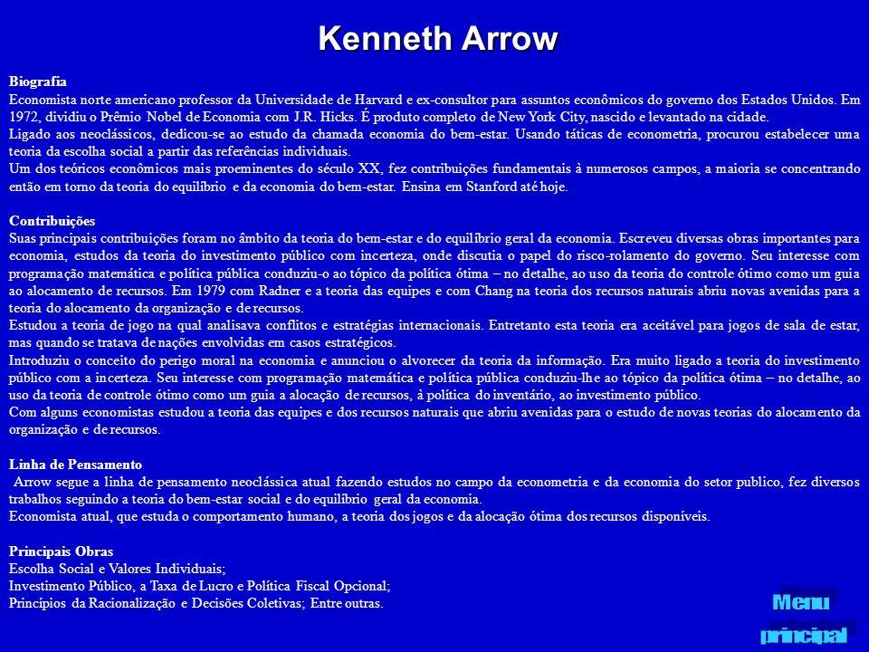 Kenneth Arrow Biografia Economista norte americano professor da Universidade de Harvard e ex-consultor para assuntos econômicos do governo dos Estados