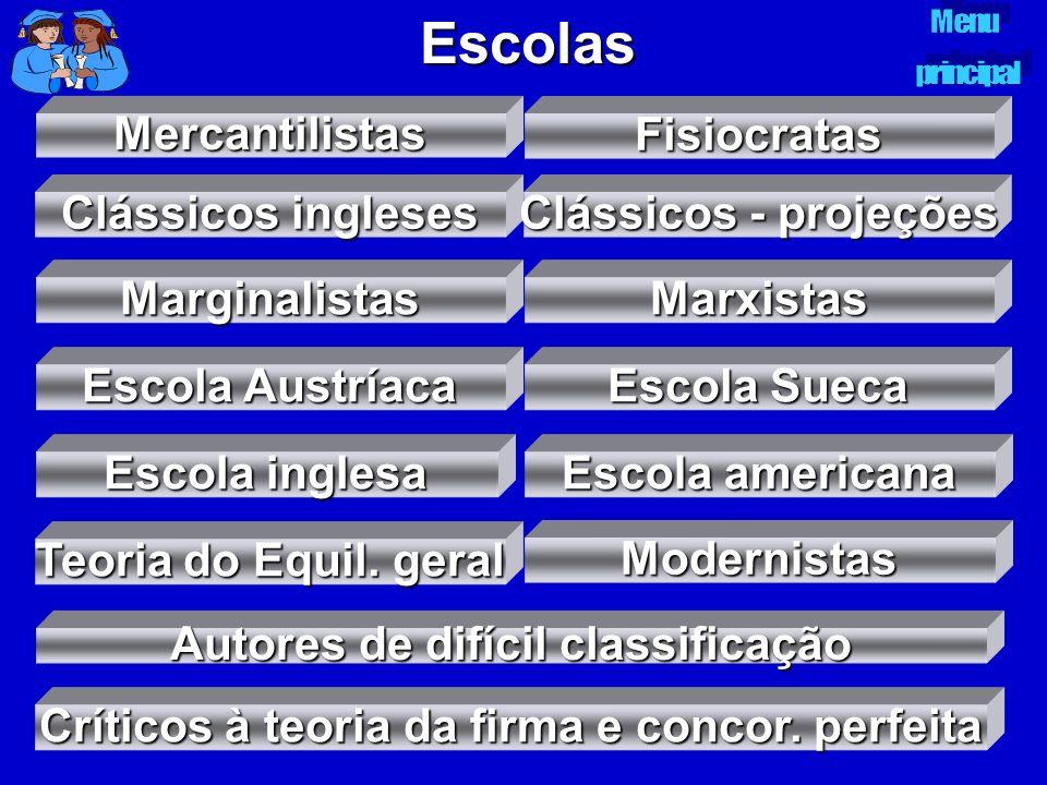 Escolas Mercantilistas Fisiocratas Clássicos ingleses Clássicos ingleses Clássicos - projeções Clássicos - projeções Marginalistas Escola Austríaca Es