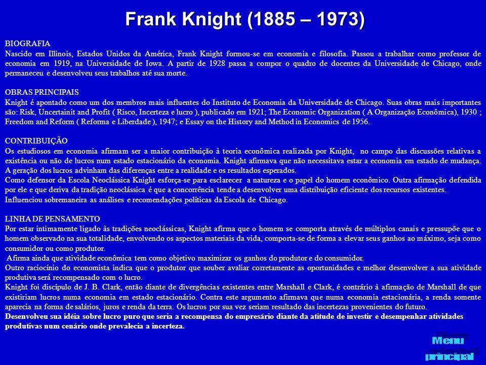 Frank Knight (1885 – 1973) BIOGRAFIA Nascido em Illinois, Estados Unidos da América, Frank Knight formou-se em economia e filosofia. Passou a trabalha