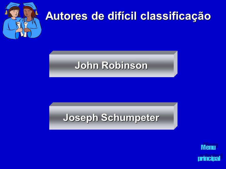 Autores de difícil classificação John Robinson John Robinson Joseph Schumpeter Joseph Schumpeter