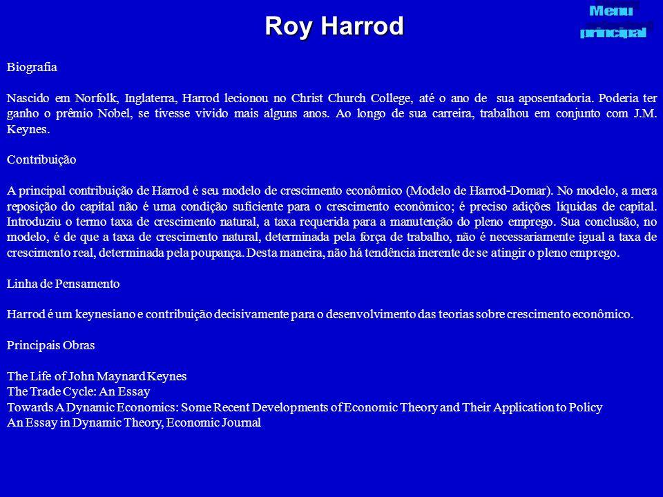 Roy Harrod Biografia Nascido em Norfolk, Inglaterra, Harrod lecionou no Christ Church College, até o ano de sua aposentadoria. Poderia ter ganho o prê