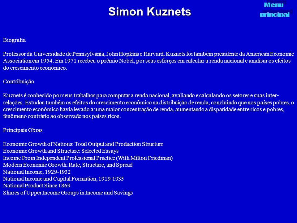 Simon Kuznets Biografia Professor da Universidade de Pennsylvania, John Hopkins e Harvard, Kuznets foi também presidente da American Economic Associat