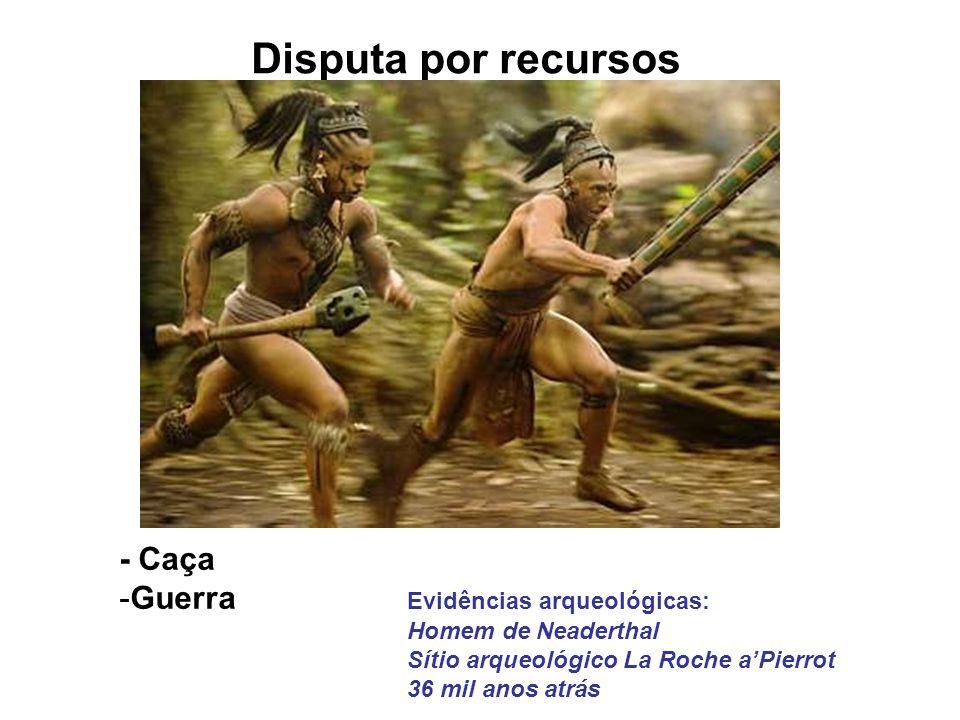 Disputa por recursos - Caça -Guerra Evidências arqueológicas: Homem de Neaderthal Sítio arqueológico La Roche aPierrot 36 mil anos atrás
