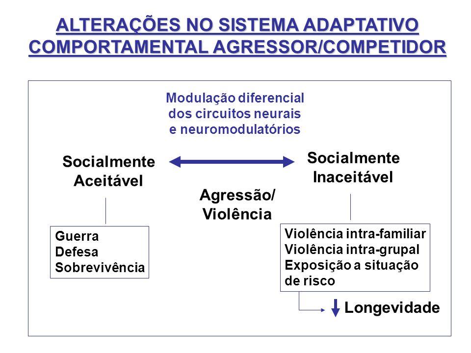 ALTERAÇÕES NO SISTEMA ADAPTATIVO COMPORTAMENTAL AGRESSOR/COMPETIDOR Agressão/ Violência Socialmente Aceitável Guerra Defesa Sobrevivência Socialmente