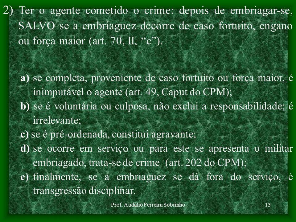 Prof. Audálio Ferreira Sobrinho13 a) se completa, proveniente de caso fortuito ou força maior, é inimputável o agente (art. 49, Caput do CPM); b) se é