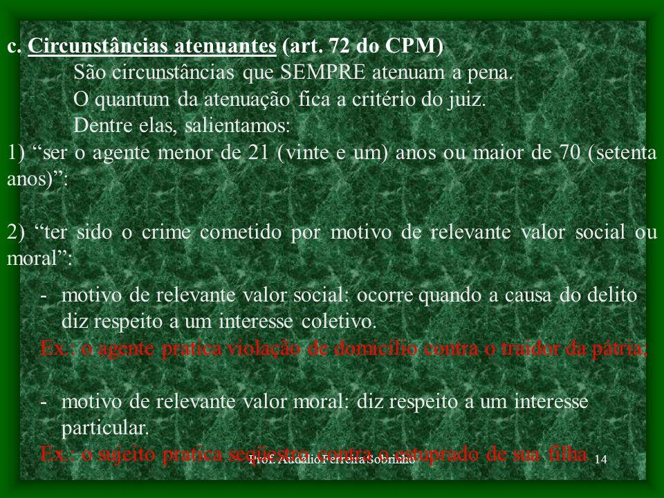 Prof. Audálio Ferreira Sobrinho14 c. Circunstâncias atenuantes (art. 72 do CPM) São circunstâncias que SEMPRE atenuam a pena. O quantum da atenuação f