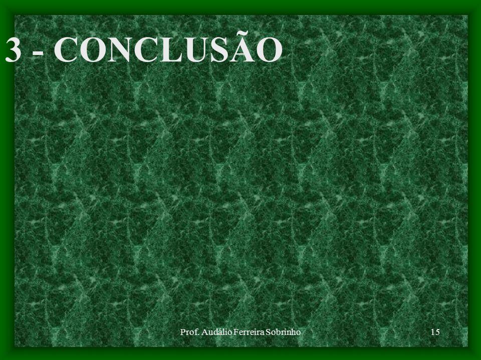 Prof. Audálio Ferreira Sobrinho15 3 - CONCLUSÃO