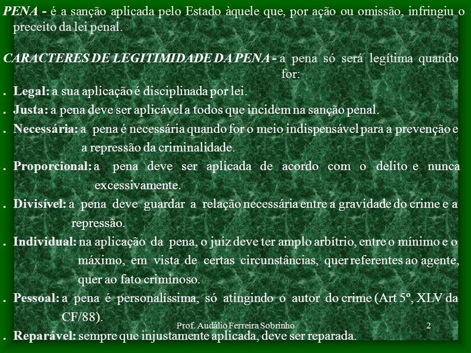 Prof. Audálio Ferreira Sobrinho2 PENA - é a sanção aplicada pelo Estado àquele que, por ação ou omissão, infringiu o preceito da lei penal. CARACTERES