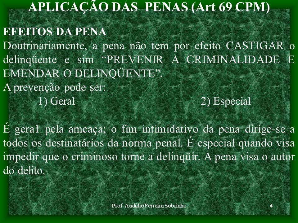Prof. Audálio Ferreira Sobrinho4 APLICAÇÃO DAS PENAS (Art 69 CPM) EFEITOS DA PENA Doutrinariamente, a pena não tem por efeito CASTIGAR o delinqüente e
