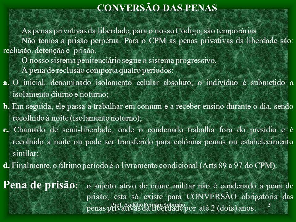 Prof. Audálio Ferreira Sobrinho5 CONVERSÃO DAS PENAS As penas privativas da liberdade, para o nosso Código, são temporárias. Não temos a prisão perpét